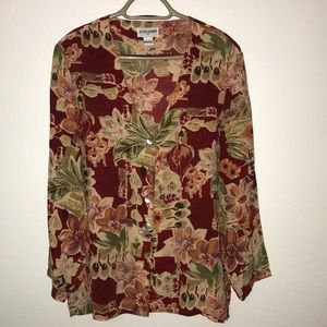 ☎️Alfred Dunner silk blouse floral red green 14